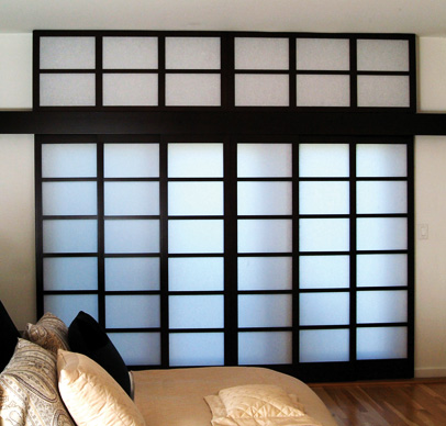 Stained Maple Shoji panels with a light filtering insert