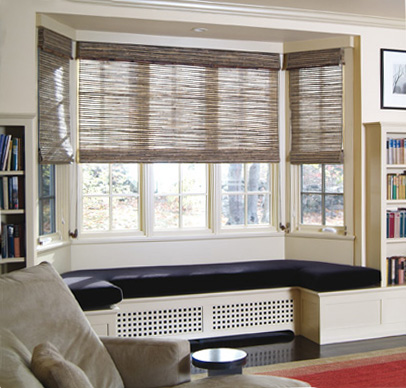 Conrad Woven Roman Shades Bay Window
