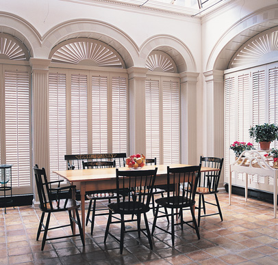 shutter panels-arched tapered-louver-fan